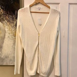 CALVIN KLEIN Zip Up Cable Ribbed Cardigan Sweater.
